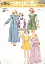 Simplicity 6190 Girls Dress or Jumper in Two Lengths & Blouse Size 14 Vt... - $4.99