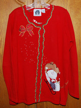 Storybook Knits Large Cardigan Sweater Santa's Wreath Sled Red Christmas... - $44.50