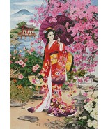 Japanese  garden beauty cross stitch pattern thumbtall