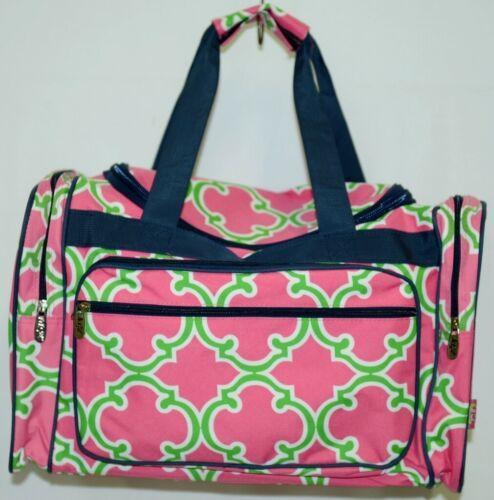 NGIL Hot Pink Lime Geometric Clover Print Canvas Duffle Bag