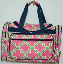 NGIL Hot Pink Lime Geometric Clover Print Canvas Duffle Bag image 1