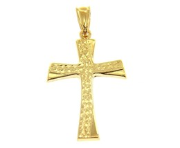 18K YELLOW GOLD CROSS, FINELY WORKED, BRIGHT, LUMINOUS 1.38 INCHES MADE IN ITALY image 1