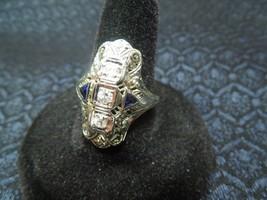 Antique ca 1920s Art Nouveau White Gold, Diamond & Sapphire Ring, Size 8 1/2, 5g - $1,237.50