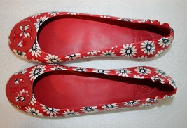 Tory Burch Minnie Travel Ballet Flat Size 8 Red/Navy/White Primrose Floral Print - $168.29
