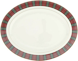 """Lenox Winter Greetings Plaid Banded Oval Serving Platter 16"""" USA New in Box - $169.90"""