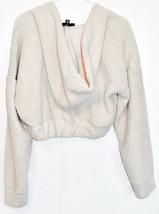Missguided Women's Cream Oversized Elastic Waist Crop Fleece Hoodie Size 2 image 2