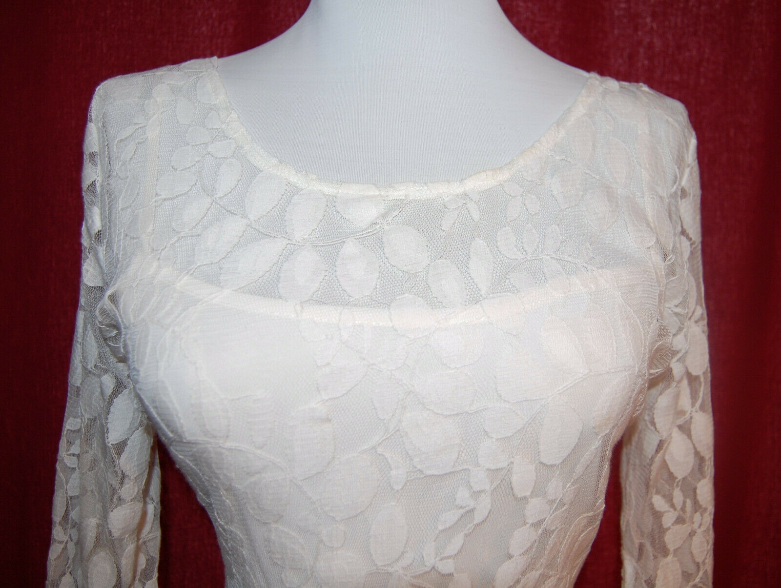 FREE PEOPLE leaf embroidered lace dress eyelash trim off white cream size 8