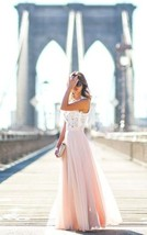 Long White Lace Pink Chiffion A-line Gown Prom Homecoming Formal Dresses - $112.00