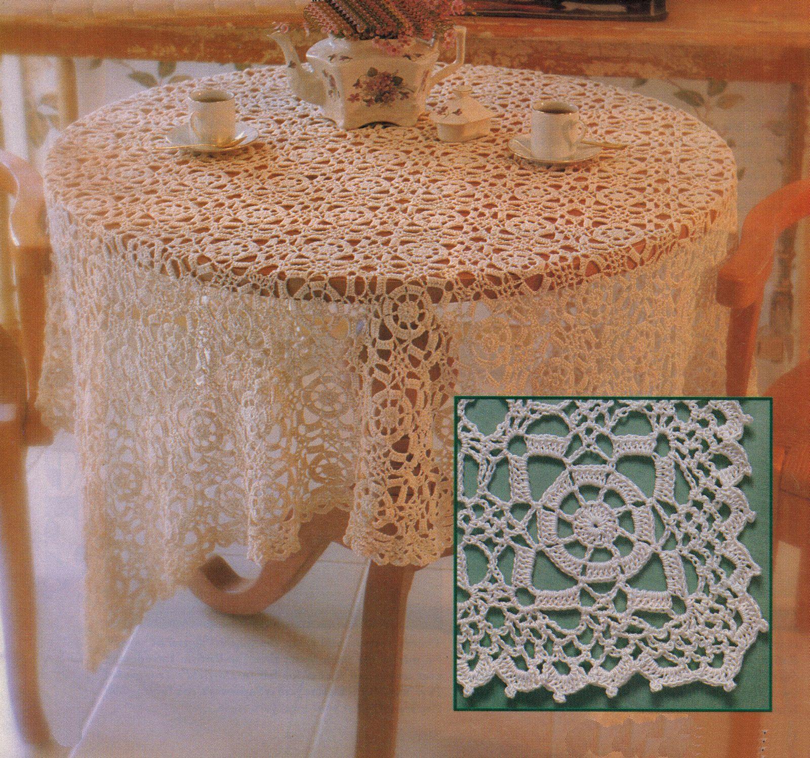 4X Wagon Wheel Lace Rosettes Leaf Flower Tablecloth Crochet Pattern
