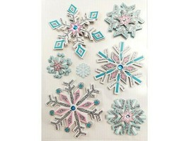 Dimensional Glittered Pastel Snowflake Stickers, Set of 7