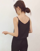 Lady Black V-neck Chiffon Tank Summer Sleeveless Camisole Bridesmaid Chiffon Top image 4