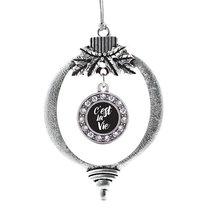 Inspired Silver C'est La Vie Circle Holiday Decoration Christmas Tree Ornament - $14.69
