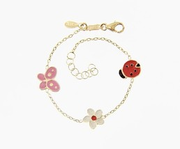 18K YELLOW GOLD BRACELET FOR KIDS WITH BUTTERFLY FLOWER  MADE IN ITALY 5.5 IN image 1