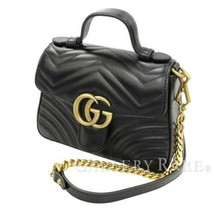 GUCCI GG Marmont Mini Top Handle Bag Leather Black 547260 Authentic 5313440 - $2,558.27 CAD