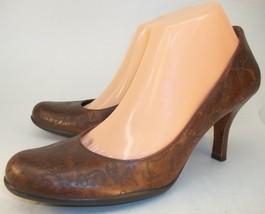 Gianni Bini Womens US 9 Brown Leather Slip-on Pumps Heels Work Shoes - $55.85