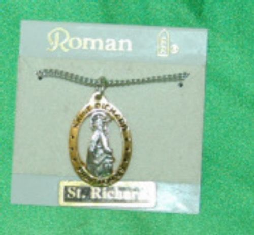 Roman 16630 Saint Richard Medal Necklace Gold Silver Color