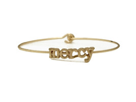 Mercy Inspirational Message Stencil Wire Hook Clasp Bangle Bracelet - $12.95