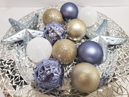 12 Coastal Beach Starfish Periwinkle Blue Gold Christmas Ball Ornaments ... - $24.99