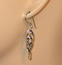 Womens 925 Sterling Silver Double Twist Spiral Drop Dangle Earrings j6 - $14.00