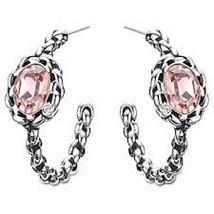 AUTHENTIC SIGNED SWAROVSKI PAPRIKA VINTAGE ROSE HOOP EARRINGS 1164692 NIB - $65.00