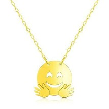 14k Yellow Gold Necklace with Hugs Emoji Symbol - $200.85