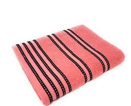 2 X Striped Bright 100% Combed Cotton Soft Absorbant Peach Pink Bath Sheet Towel - $35.98