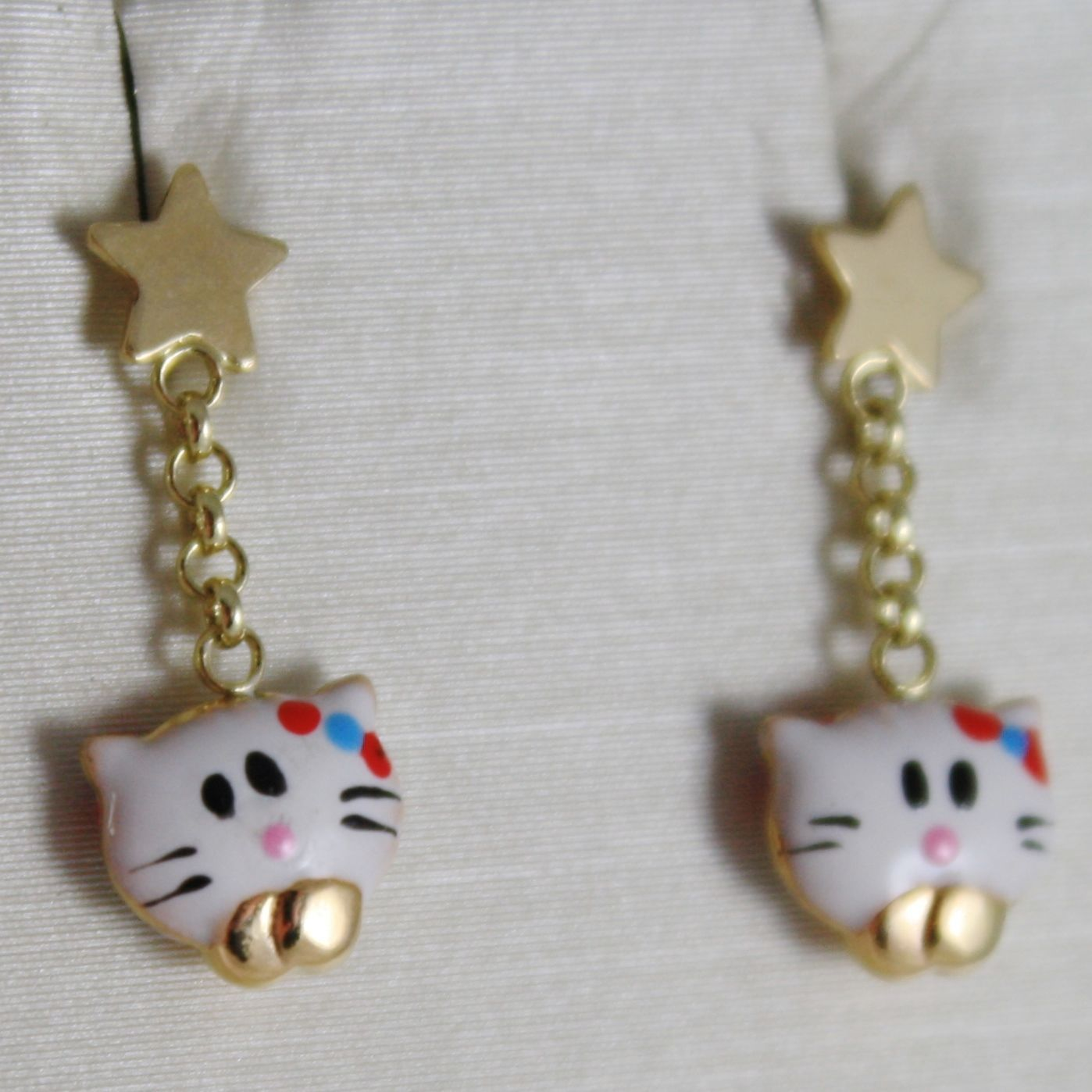 18K YELLOW GOLD PENDANT CHILD KIDS EARRINGS GLAZED CAT CATS STAR MADE IN ITALY