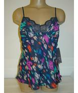 Gilligan O'Malley blue printed semi sheer cami tank top purple orange-M-... - $9.46