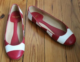 Kate Spade NY 6 M Red White Stripe Leather Isla Ballet Flats - $49.40