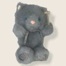 """Russ Berrie Soft n Suede 6 1/2"""" Plush Soft Gray Cat With Tags - $11.87"""