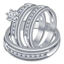 2.25 Carat Sim Diamond 925 Silver His & Her Trio Ring Set 14K White Gold... - $128.99