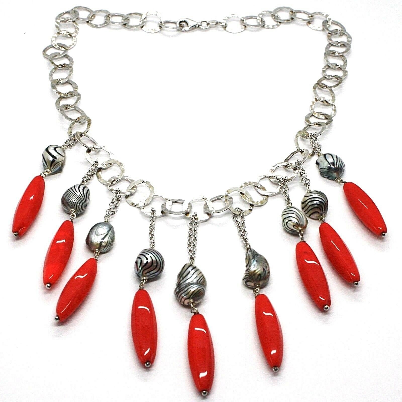 Silver 925 Necklace, Coral, Pearls Grey Painted, Waterfall, Hanging