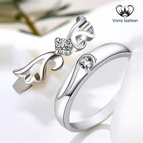 925 sterling silver ring opening korean couple