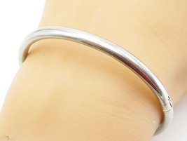 925 Sterling Silver - Vintage Smooth Shiny Hinged Bangle Bracelet - B6046 - $37.77