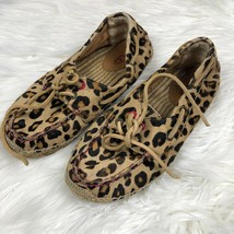 Ugg Women's coris leopard espadrille calf hair moccasin Size 7 loafer - $38.61