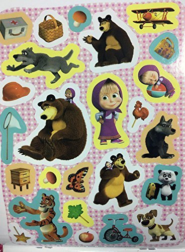 4 Sheets (100 Stickers) Sticker Green Random masha and Bear (7.8-5.5 inch) Kids image 2