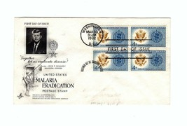 FDC ENVELOPE-.J.F.K.- MALARIA ERADICATION POSTAGE 4BL-1962 ART CRAFT CAC... - $1.96