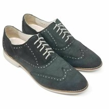 Cole Haan Womens Gramercy Oxford Flat Shoes Black Lace Up Low Top Wingtip 9 B - $34.99