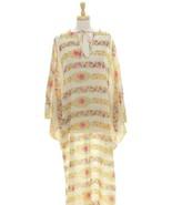 Vintage 1970's Lord & Taylor Caftan Dress Dolman Sleeve Keyhole Neck Flo... - $78.41