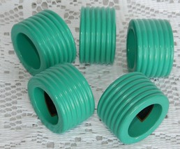 5 Vintage Park B Smith Ribbed Wood Napkin Rings Teal Green/Blue Retro 80's - $14.99