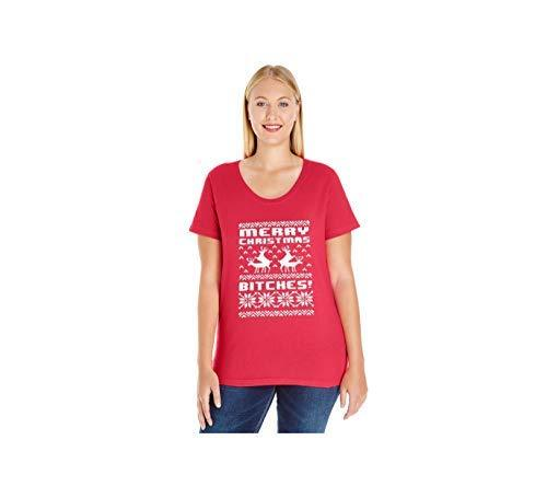 Primary image for Women's Merry Christmas Bitches!! Plus Size Scoop Neck T Shirt 14-16 Red