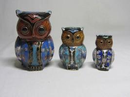 Lot of 3 Cloisonne Enamel Vintage Owl Bird Figurine Statue Turquoise Floral - $39.59