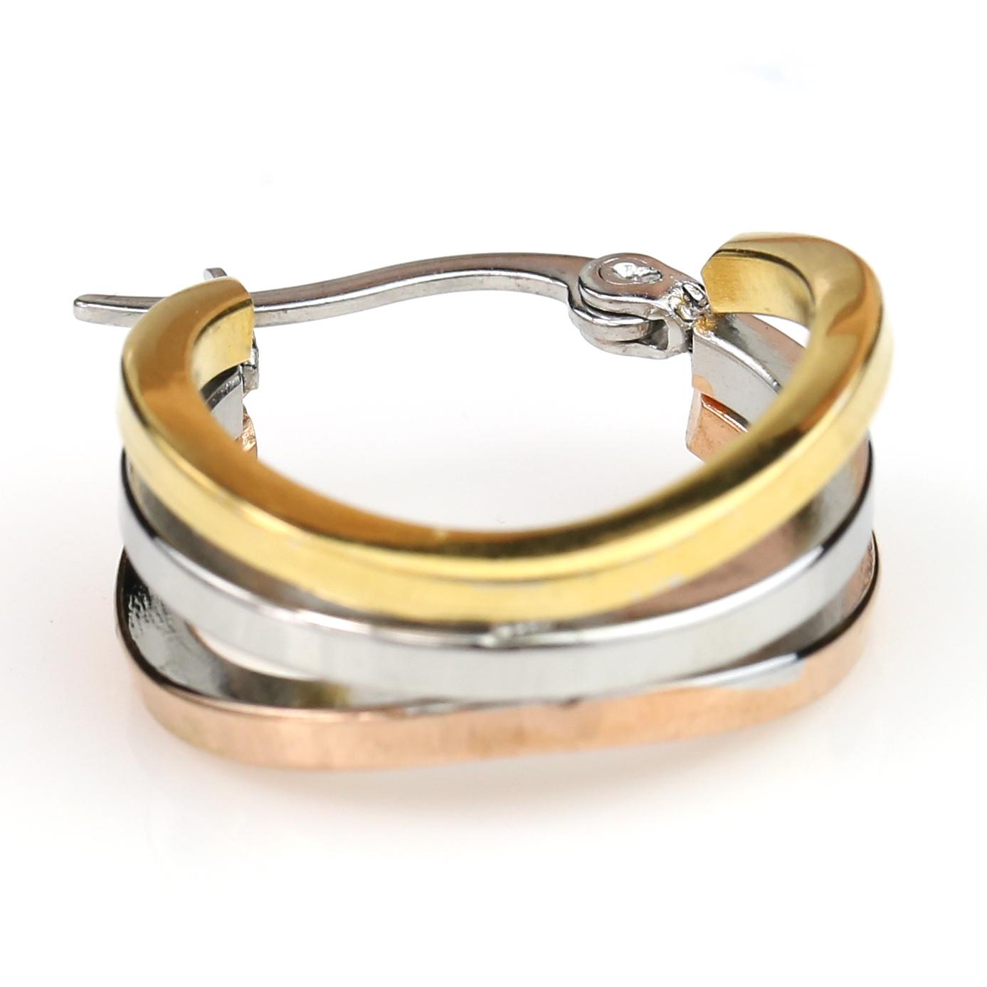 Trendy Tri-Color Silver, Gold & Rose Tone Hoop Earrings- United Elegance image 4