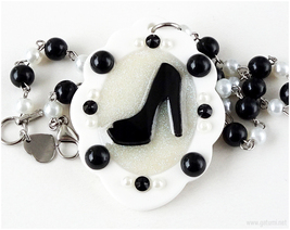 High Heel Shoe Necklace, Cameo Jewelry, Handmade, Black and White, Pinup Girl - $27.00