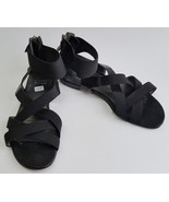 Stuart Weitzman Womens Shoes Sandals Black Flats Zipper at Heel Strappy ... - $79.16