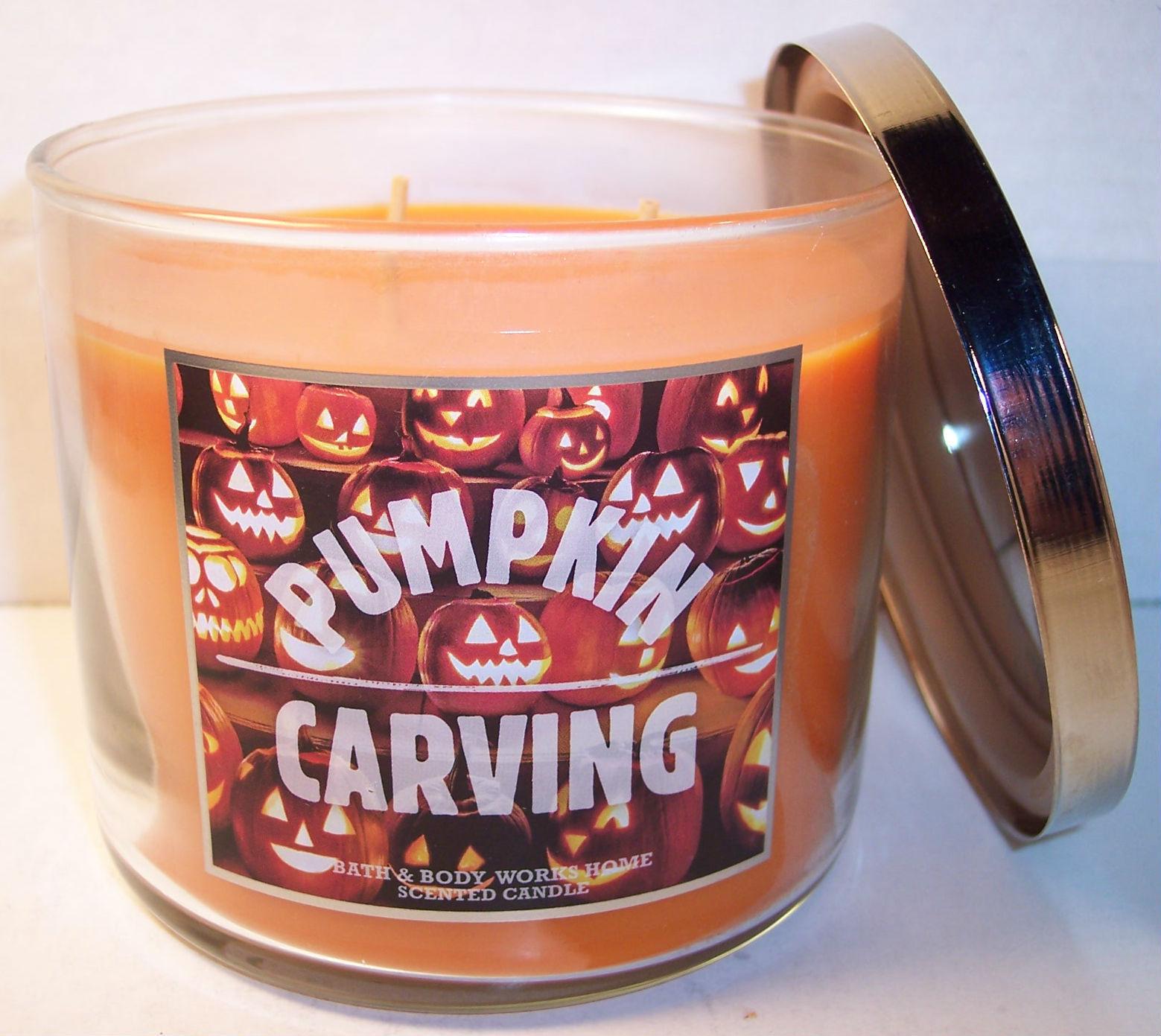 Bath & Body Works 3 wick 14.5 oz Candle jack-o-lanterns  Pumpkin Carving