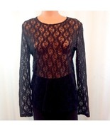 Ralph Lauren Sheer Black Lacey Open Knit Top Medium EUC - $24.00