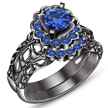 Round Cut Blue Sapphire 14k Black Gold Plated 925 Silver Bridal Wedding ... - $97.90