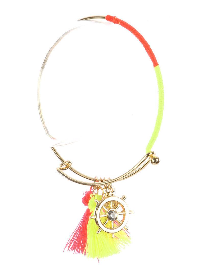 Nautical Charm Tassel GoldTone Bangle Bracelet Ship Wheel