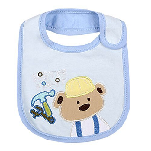 Lovely Tool Bear Cotton/PVC Adjustable Waterproof Baby Bib Pocket Bib 612""
